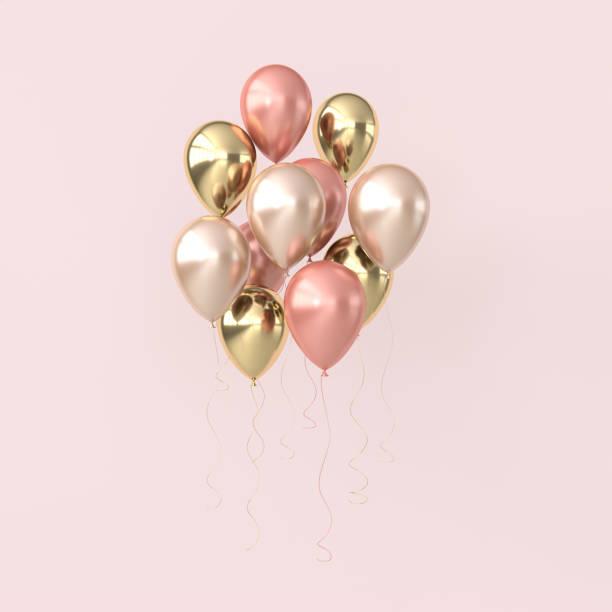 パステルカラーの背景に光沢のあるピンクと金色の風船のイラスト。誕生日、パーティー、プロモーションソーシャルメディアバナー、ポスターのための空きスペース。3d レンダリングリア� - 風船 ストックフォトと画像
