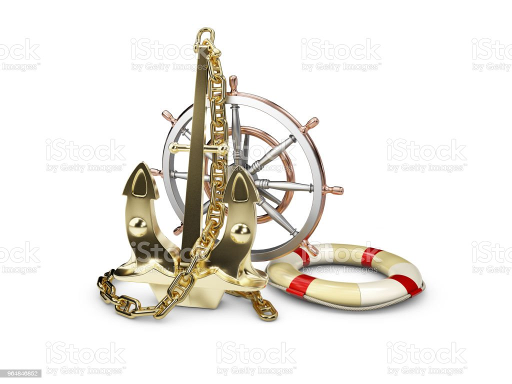 3D Illustration of gold anchor with ship wheel and Lifebuoy, on a white background royalty-free stock photo