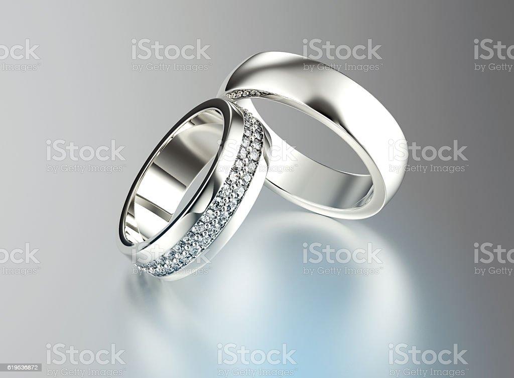3 D illustration de anneau D'or avec diamant. Fond de bijoux - Photo