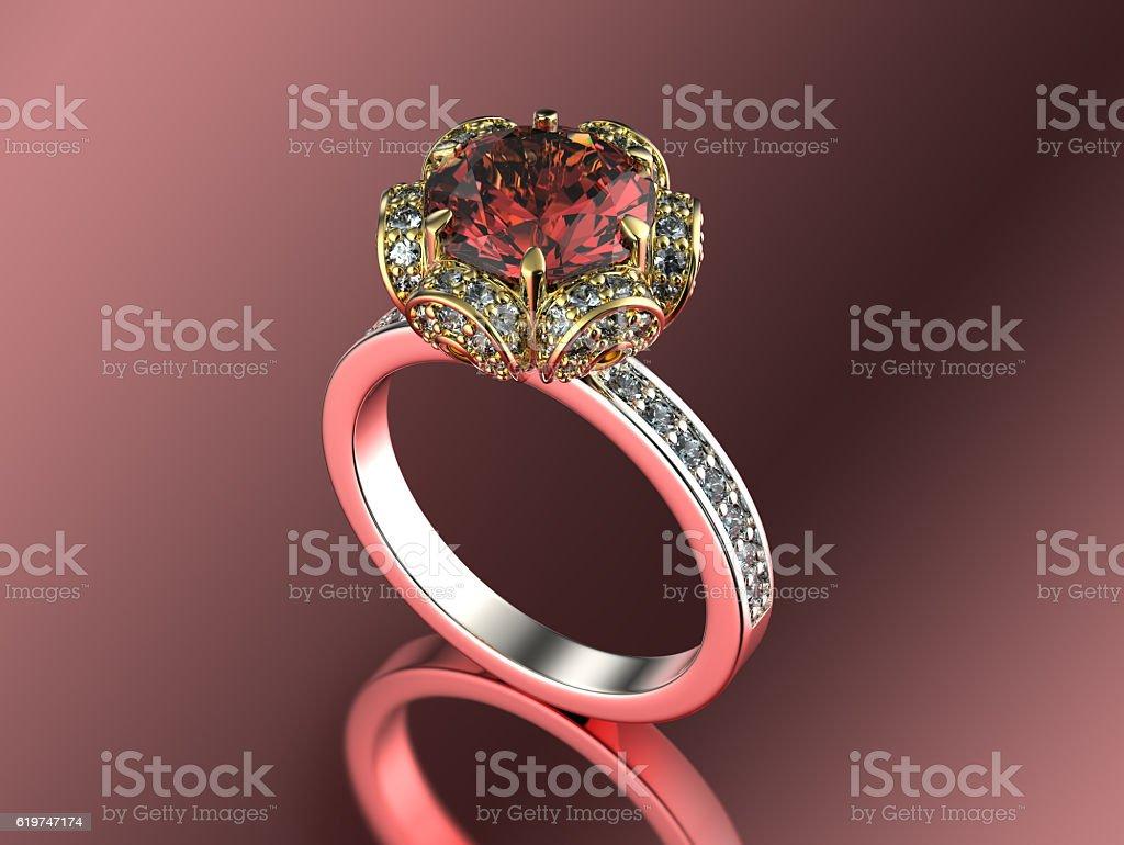 3 d illustrazione di oro anello con diamante sfondo di gioielli