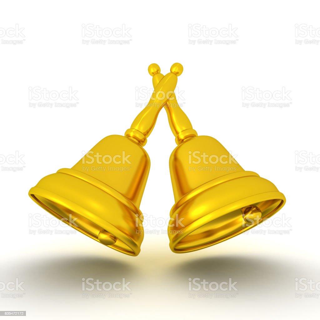 3D illustration of golden bells stock photo