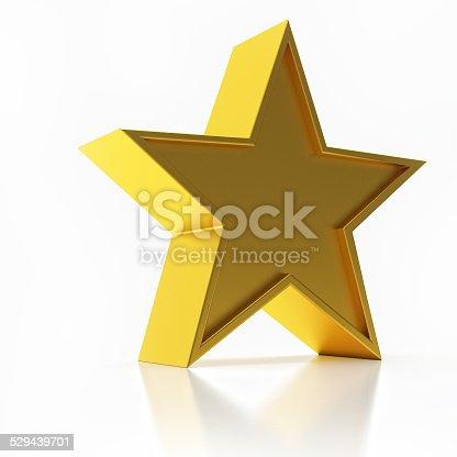 istock 3D Illustration of Golden Star Isolated Over White Background 529439701