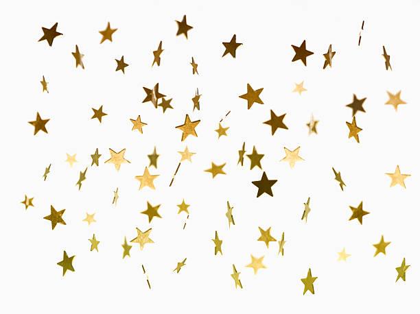 Illustration of golden stars falling background stock photo