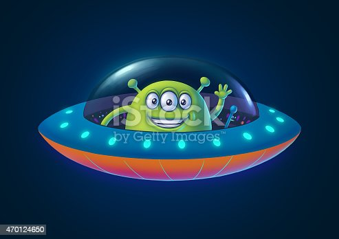 istock Illustration of green alien in ufo in cartoon style 470124650