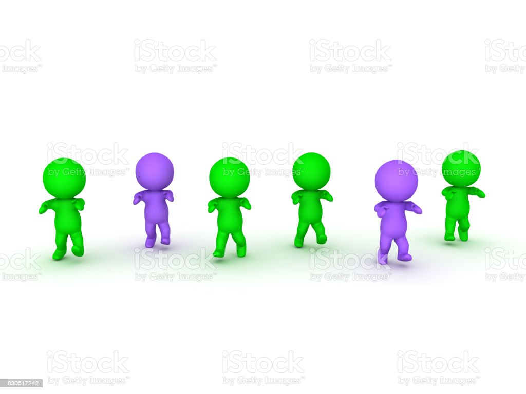 3D illustration of green and purple zombies shambling forward stock photo