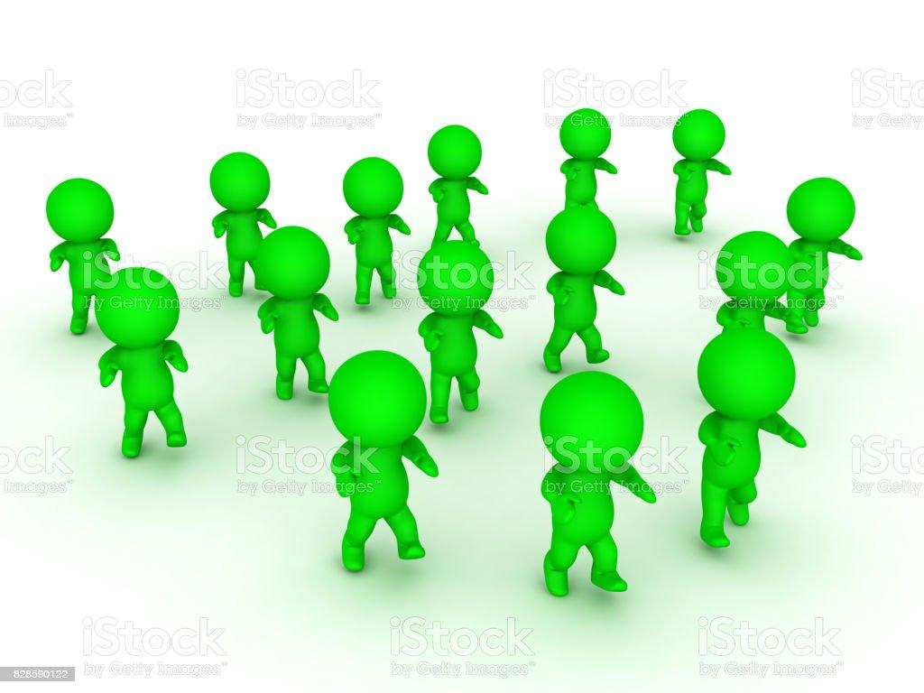 3D illustration of green zombie apocalypse stock photo