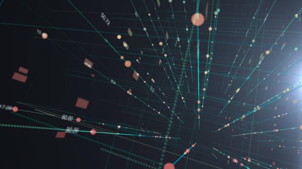 Ilustración de rejilla futurista ordenador digital antecedentes de ciencia y tecnología - foto de stock