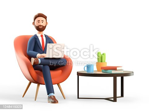 3D illustration of happy smiling businessman in suit with laptop sitting in armchair. Cartoon office workplace with modern coffee table, mug, books and plant.