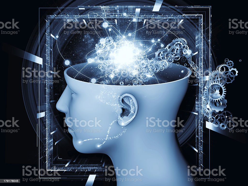 Illustration of head showing an open mind concept stock photo