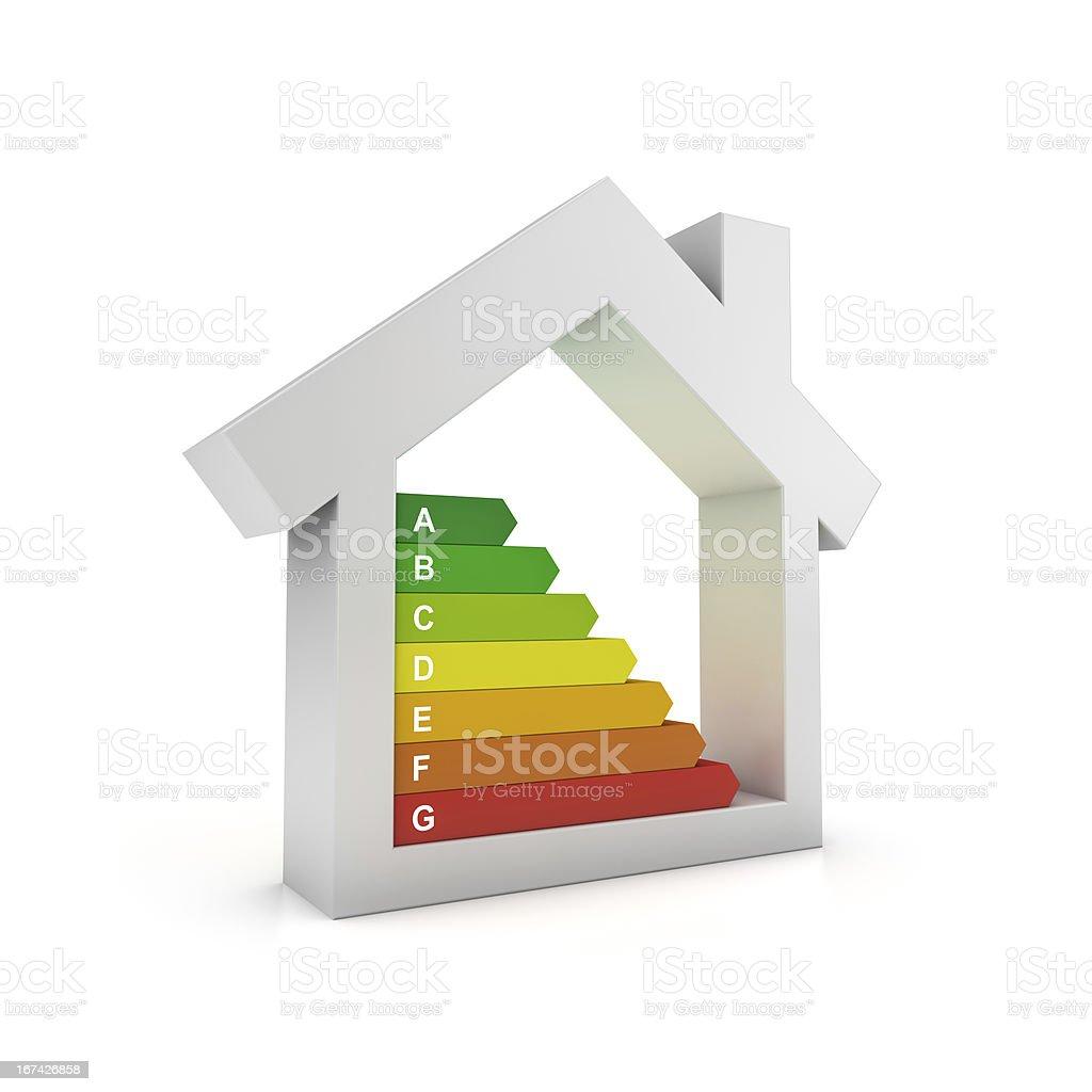 Illustration of house with colorful bars symbolizing energy stock photo