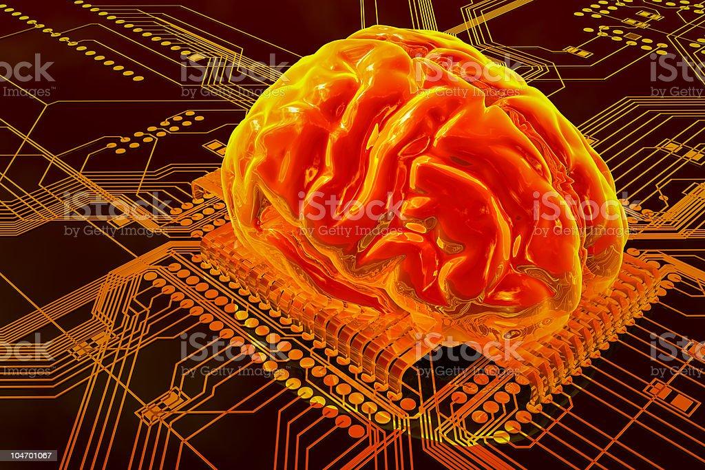 Illustration of human brain on technology background royalty-free stock photo
