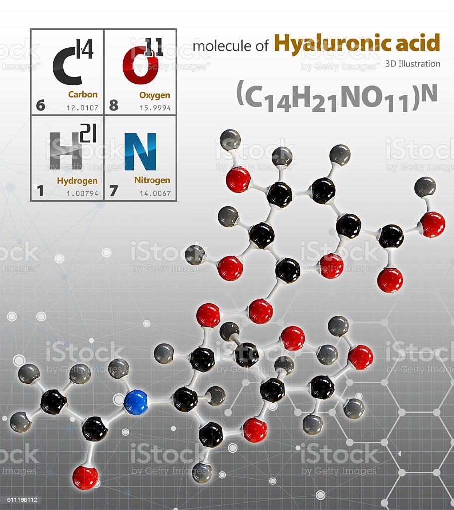 Illustration of Hyaluronic acid Molecule isolated grey backgroun - foto de stock
