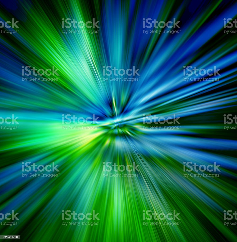 Illustration of  hyperspace motion. Concept of  intergalactic travel. stock photo