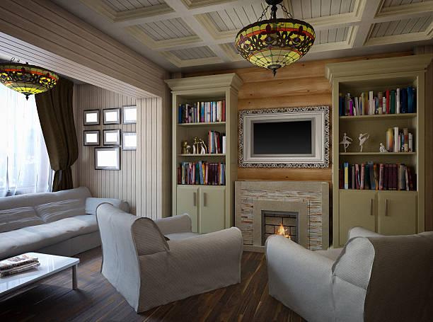 3 d illustration der einrichtung von einem schlafzimmer - bett landhausstil stock-fotos und bilder