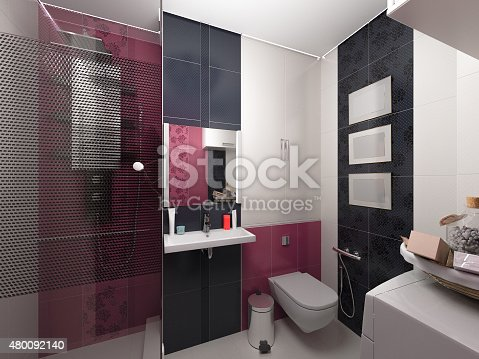 618327092istockphoto 3D illustration of interior design of a pink bathroom 480092140