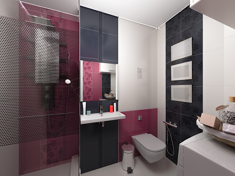 618327092 istock photo 3D illustration of interior design of a pink bathroom 480092140