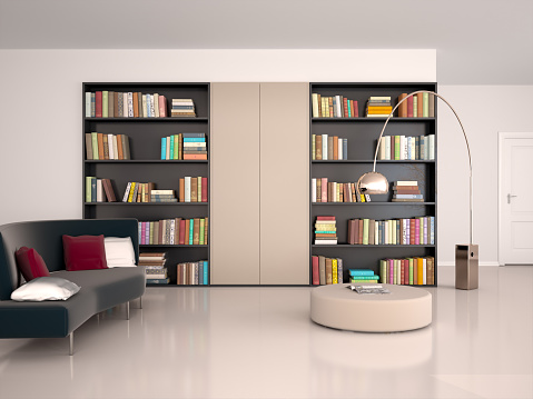 illustration of Interior of modern room for reading
