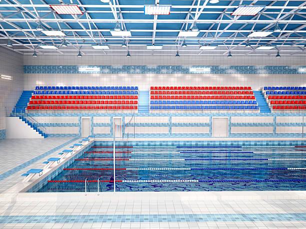 Illustration of interior of public swimming pool. stock photo