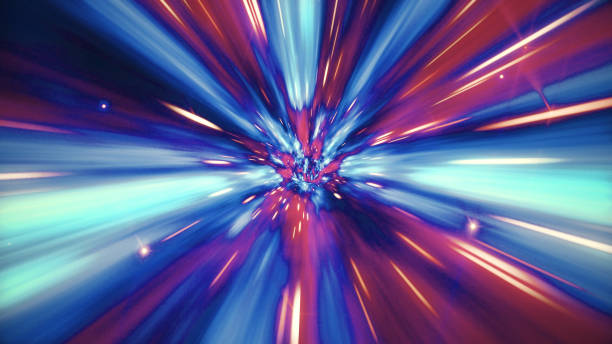 illustration of interstellar travel through a blue wormhole filled with stars - distorted image stock pictures, royalty-free photos & images