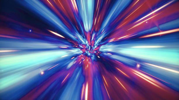 ilustración del viaje interestelar a través de un agujero de gusano azul lleno de estrellas - distorsionado fotografías e imágenes de stock