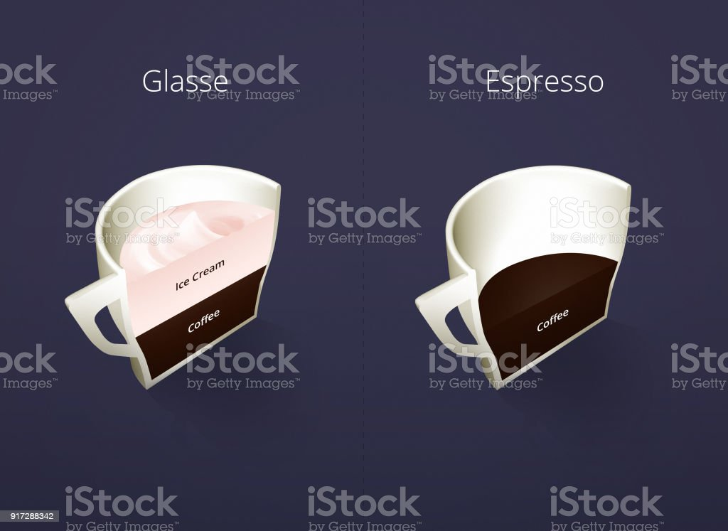 Illustration of isometric cups of coffee in a cut. Glasse, Espresso. Coffee collection isolated on dark blue background. Coffee guide menu. Different coffee drinks. stock photo