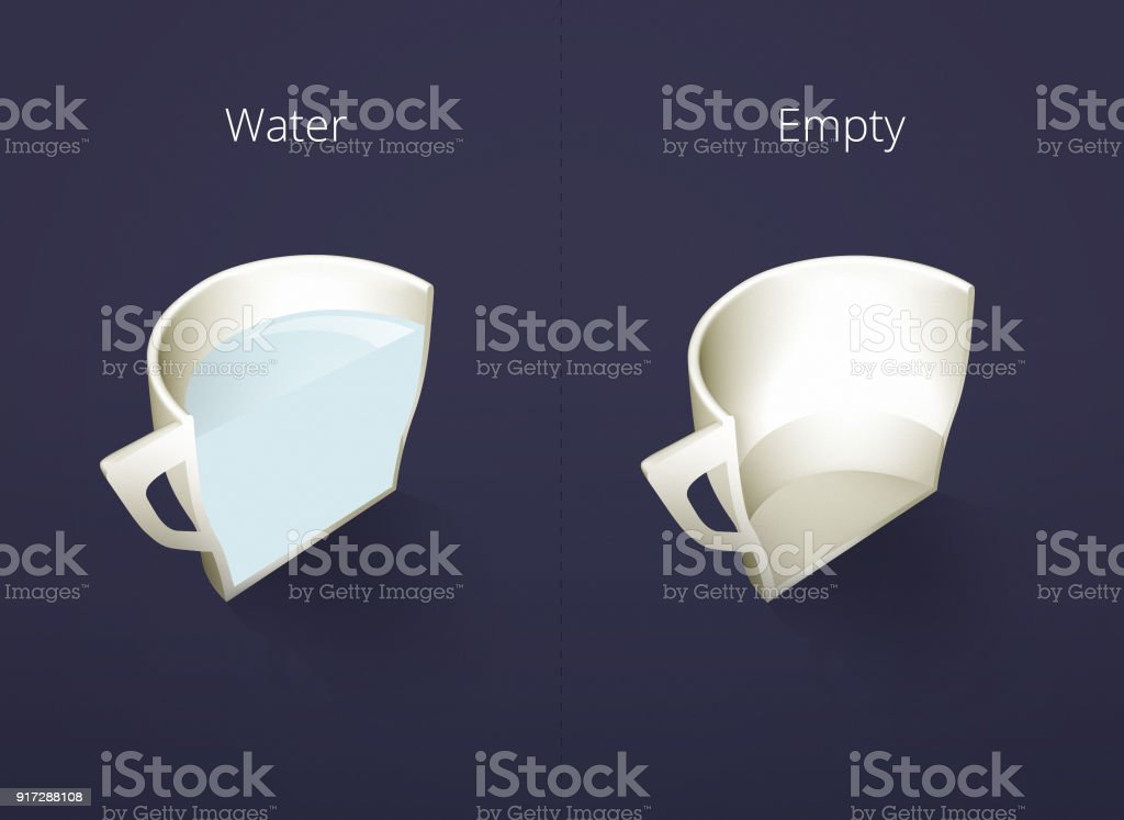 Illustration of isometric cups of coffee in a cut. Water, Empty cup. Coffee collection isolated on dark blue background. Coffee guide menu. Different coffee drinks. stock photo