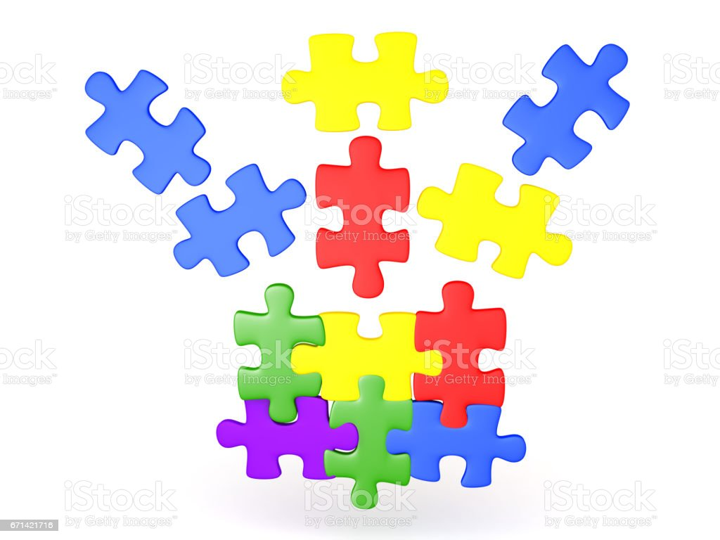 3D Illustration Of Jigsaw Puzzle Pieces Falling Into Place Royalty Free Stock Photo