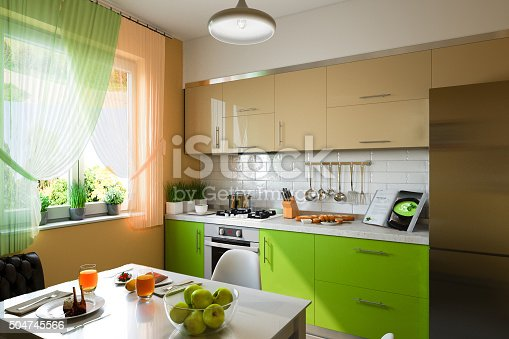 istock 3D illustration of kitchen with beige and green facades 504745566