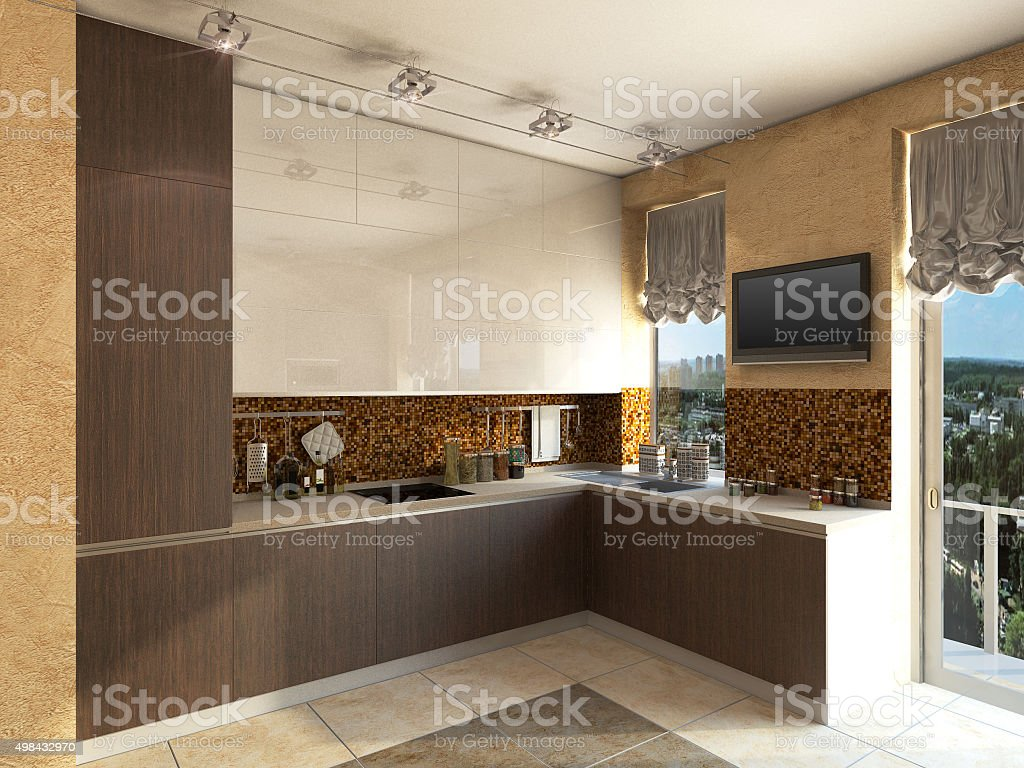 3D illustration of kitchen with wooden and glass facade stock photo