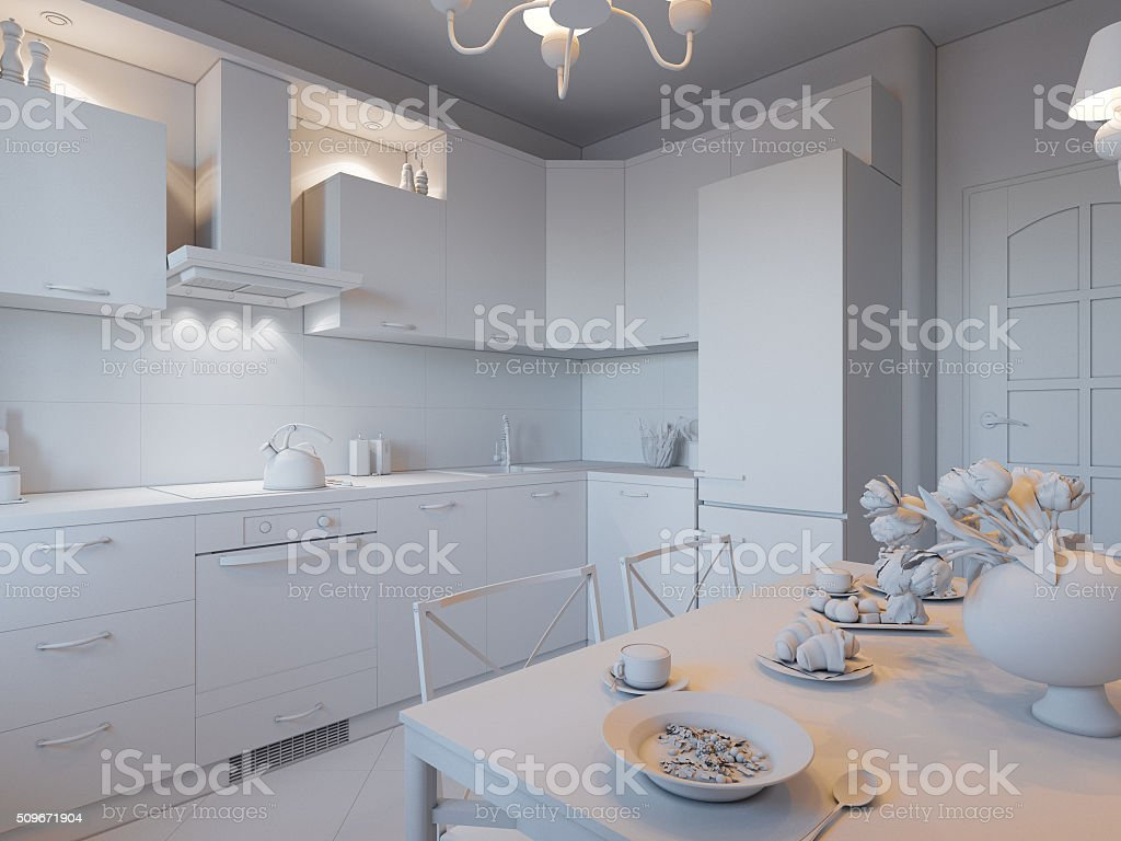 3d Illustration Of Kitchen Without Textures And Materials Stock ...