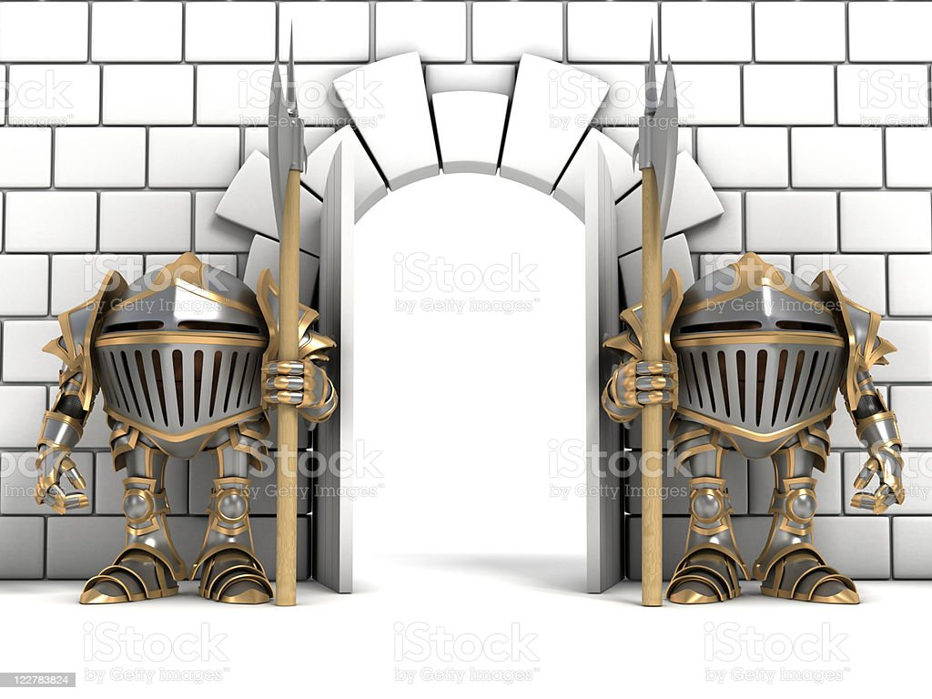 Illustration of knights guarding an entrance stock photo