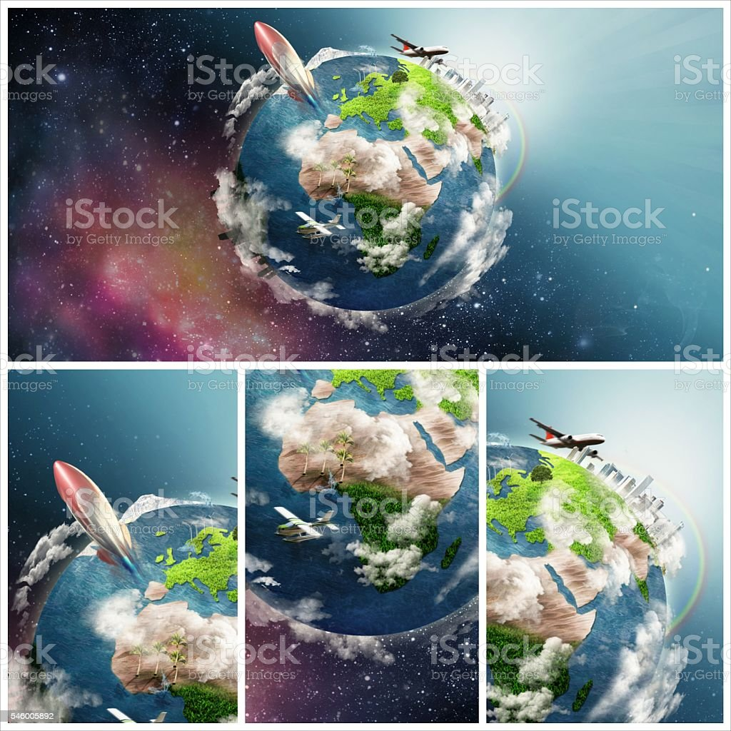 Illustration of life circle on the Earth collage image