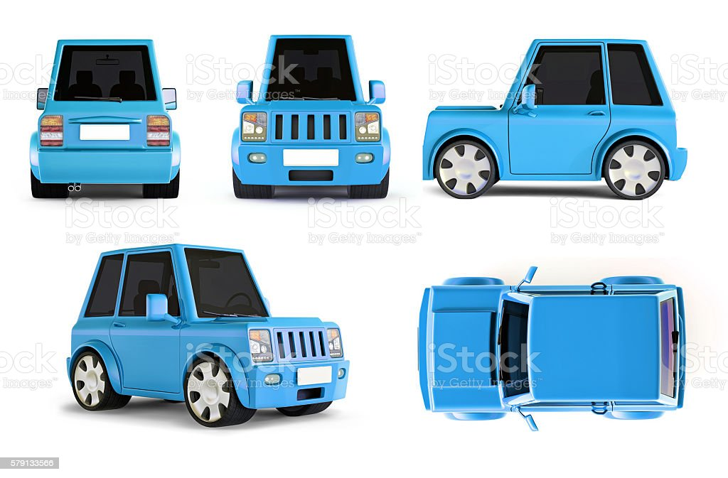 3d Illustration Of Light Blue Suv Cartoon Car All Views Stock Photo