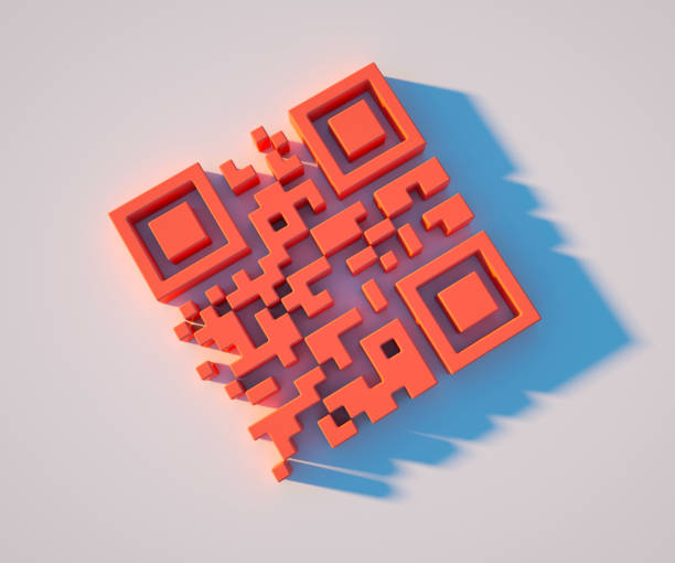 3D illustration of living coral QR code, trend 2019, closeup stock photo