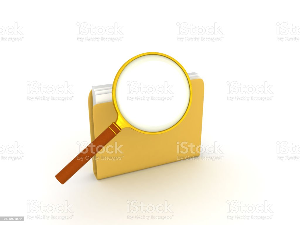 3D illustration of magnifying glass on top of file folder stock photo