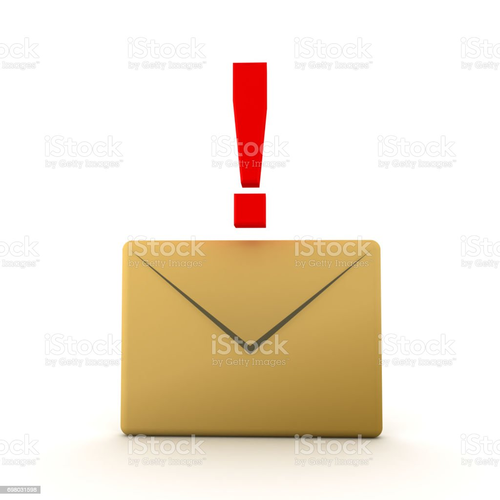 3D illustration of mail envelope with red exclamation point on top stock photo