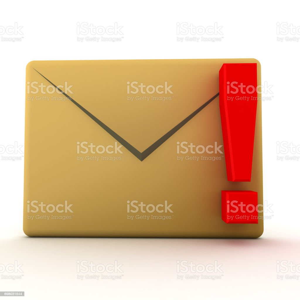 3D illustration of mail envelope with red exclamation point stock photo