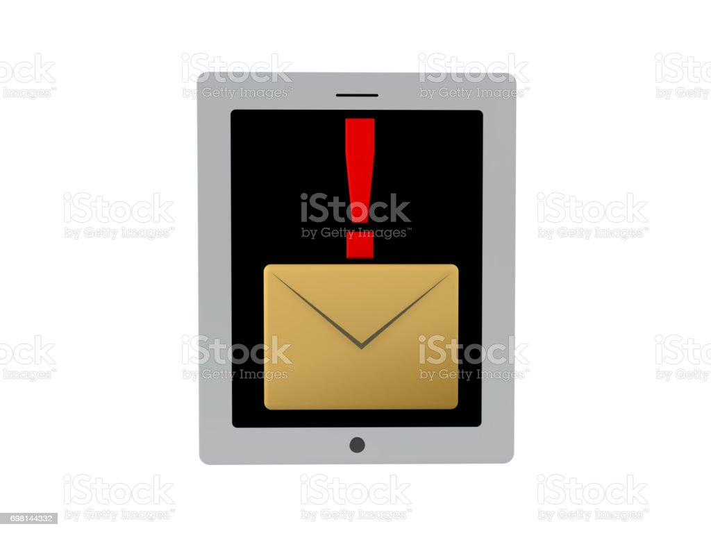 3D illustration of mail notification icon on tablet screen or phone stock photo