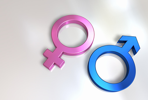 Woman and man symbol on white background.