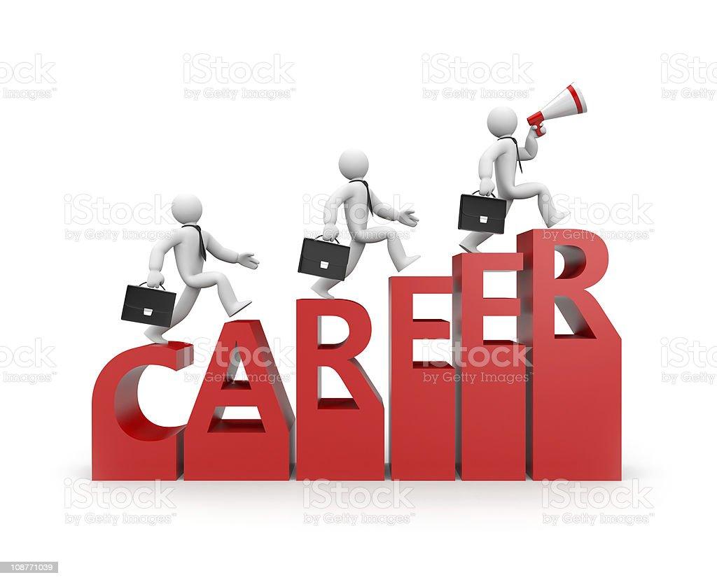 Illustration of man climbing the word career royalty-free stock photo
