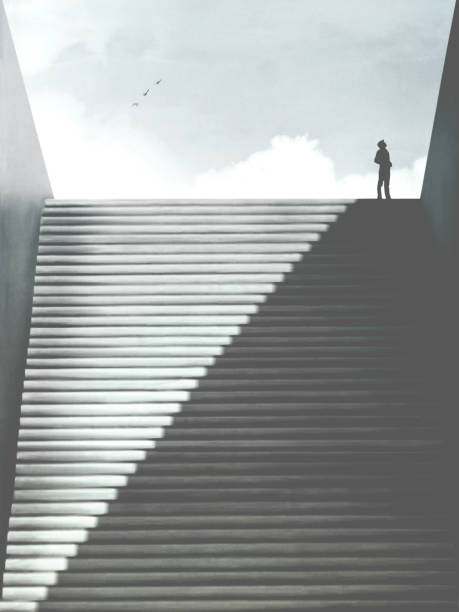 illustration of man rising minimal abstract stairs of shadow, surreal concept stock photo