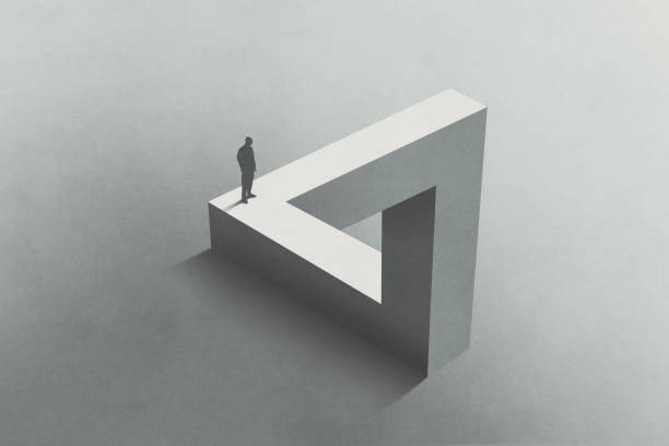 Illustration of man walking on Penrose triangle, surreal concept stock photo