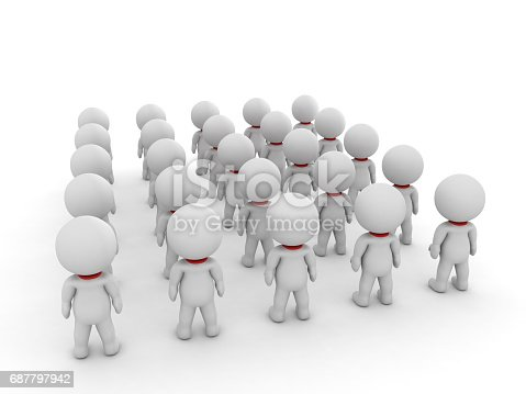 3D illustration of many small people seen from the back. Image depicting a group of people.