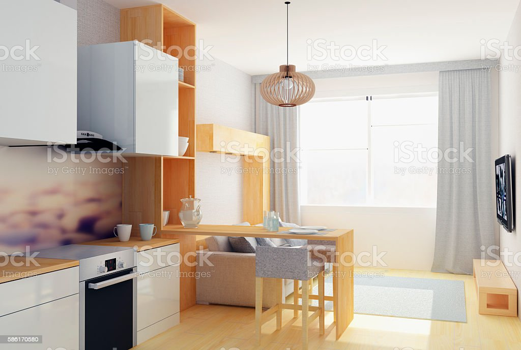 3D illustration of modern flat in Scandinavian style stock photo