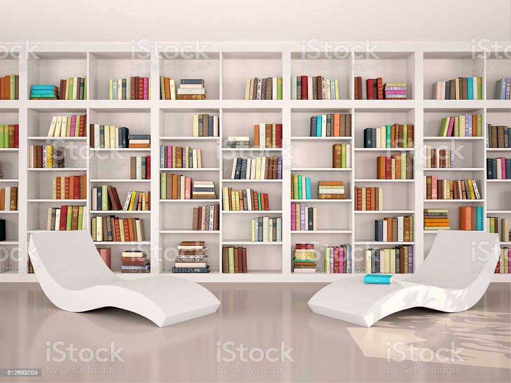 illustration of modern minimalistic library for otdіha stock photo
