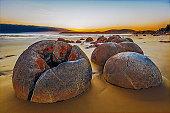 Illustration of Moeraki Boulders on Koekohe beach in New Zealand