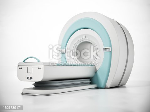 3D illustration of MRI (Magnetic Resonance Imaging) machine.