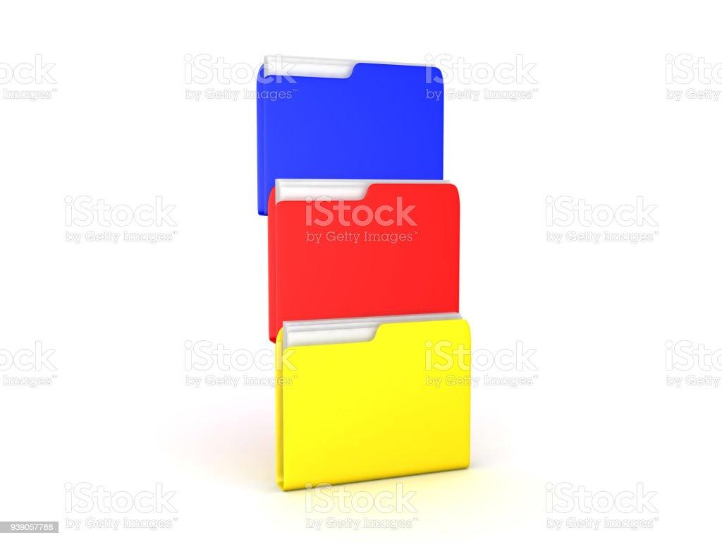 3D illustration of multiple colored file folders stock photo