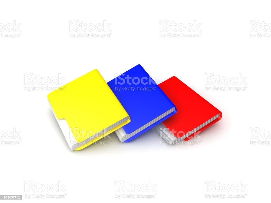 3D Illustration of multiple colored folders arranged on the floor stock photo