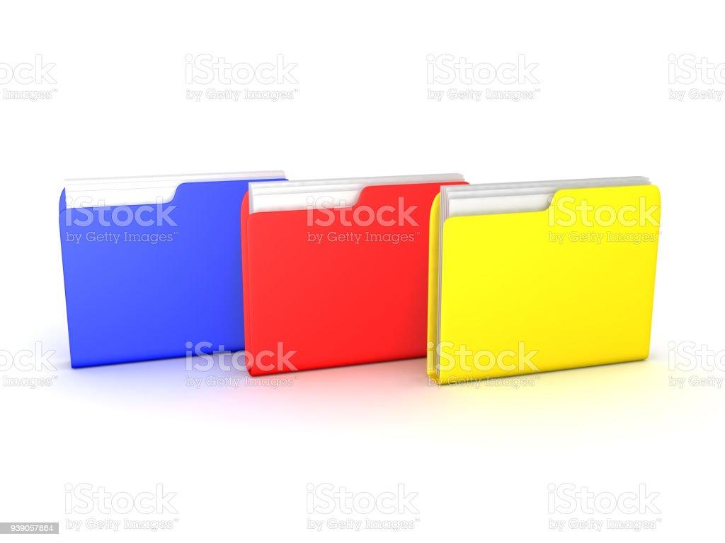 3D illustration of multiple colorful file folders stock photo